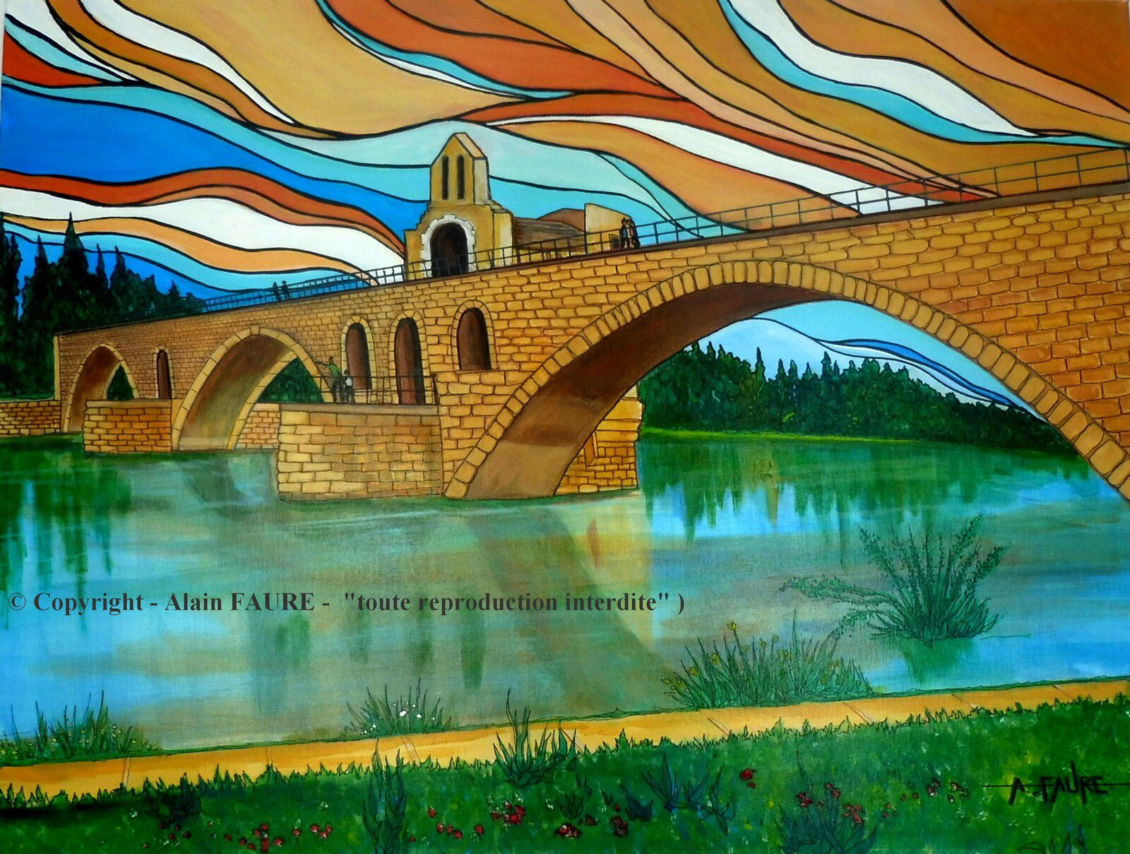SUR LE PONT D'AVIGNON Peinture Acrylique sur Toile : 80 x 60 cm ...........1050 € - Par la vertu d'une ronde enfantine, le pont Saint-Bénézet est sans doute le monument le plus célèbre de la Provence médiévale. Selon la légende, c'est en 1177 qu'un jeune berger appelé Bénézet et se disant envoyé de Dieu vint à Avignon pour construire un pont sur le Rhône. Aujourd'hui il ne reste plus que 4 arches sur cet ouvrage d'art qui en comptait 22 à l'origine en 1185. A cette époque le pont mesurait 920 m sur 4 de large.