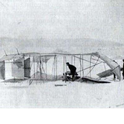 Première tentative de Junod sur avion-ski, fin janvier 1910
