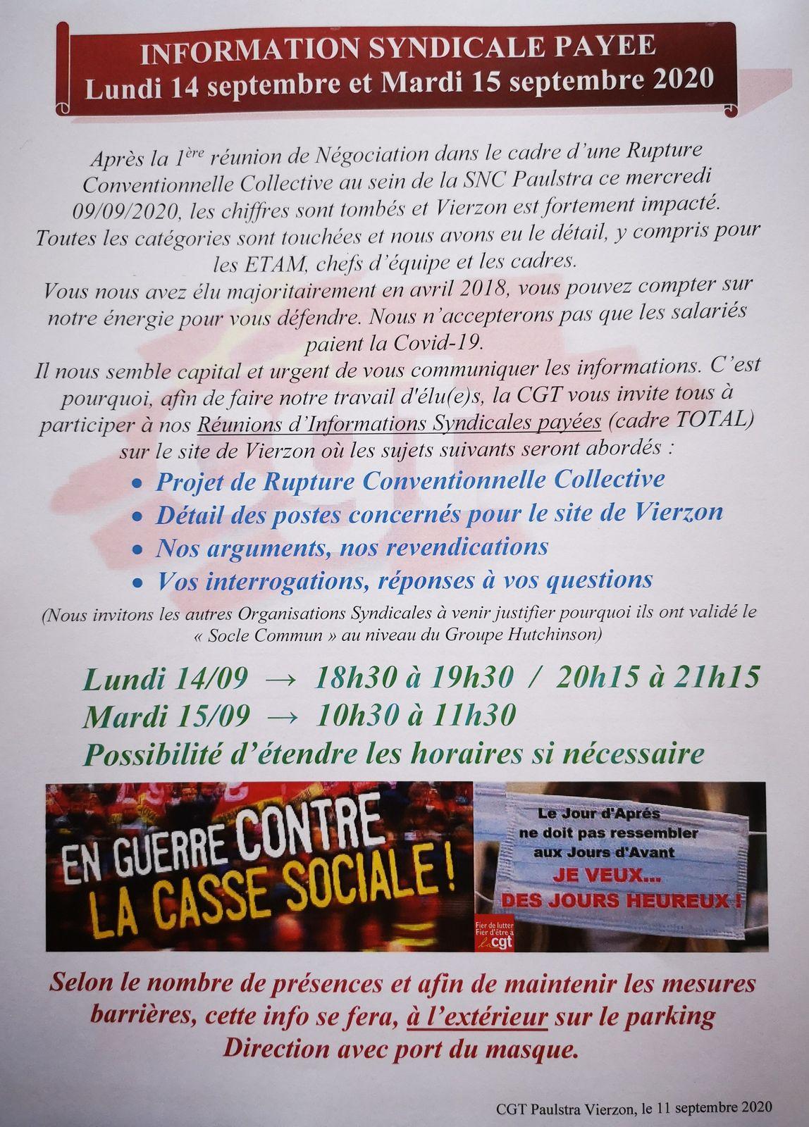 RÉUNIONS D'INFORMATIONS SYNDICALES PAYÉES (Cadre TOTAL)