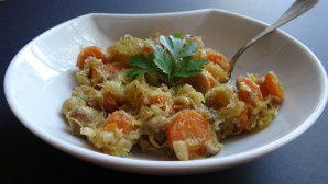 Sauté de courge spaghetti, carottes et chataignes