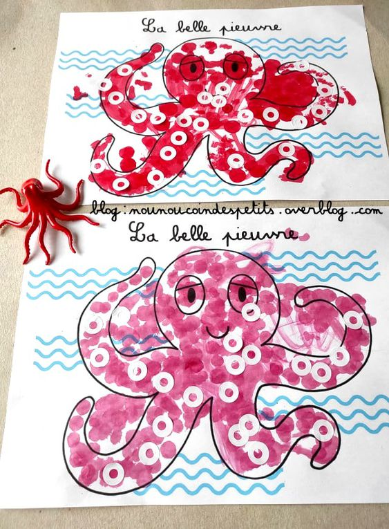 .. Bricolage enfant La belle pieuvre ..