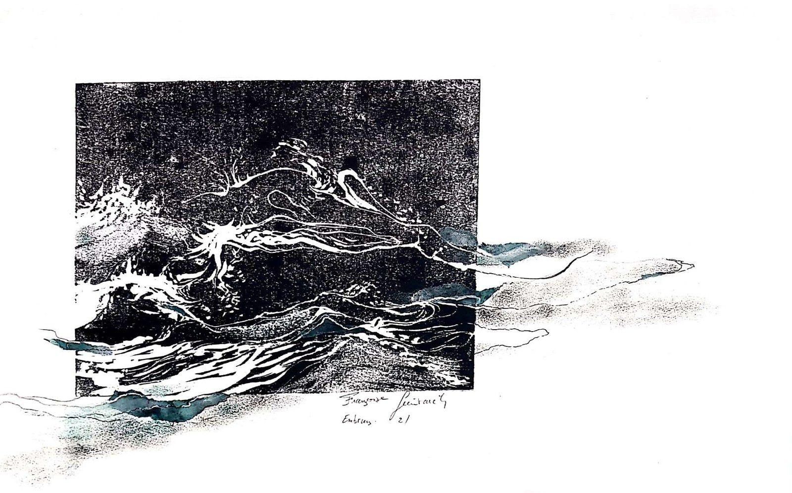 Linogravure 20x25 imprimée sur feuille 51x35 et collage. les embruns 2.