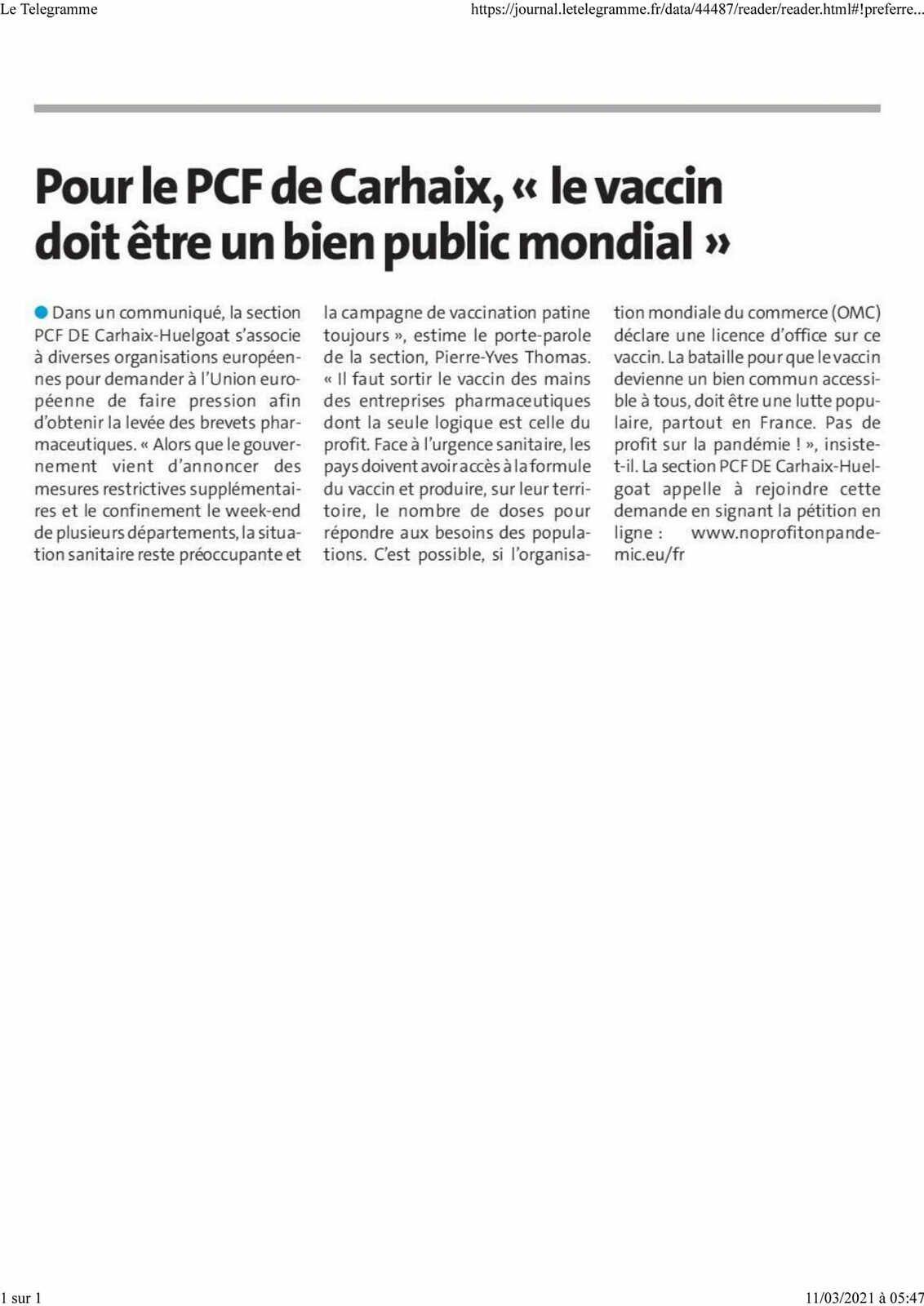 Pour le PCF de Carhaix-Huelgoat, le vaccin doit être un bien public mondial. Le Télégramme, 11 mars.
