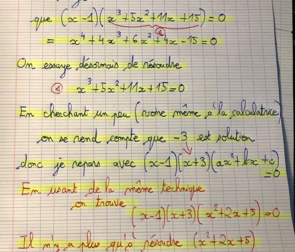 POST BAC - NOMBRES COMPLEXES  - Résoudre une équation de 4ième degré - Exemple