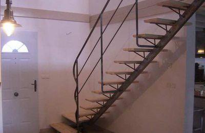 Escalier métal - Rampe sur mezzanine -  Marches bois