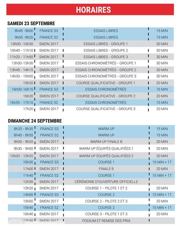 Les horaires disponible sur le site de la FMF.