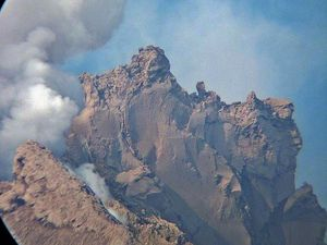 The lava spine of Sinabung - a click to enlarge - 01/18/2015 Photo via Twitter / Adam Leopold