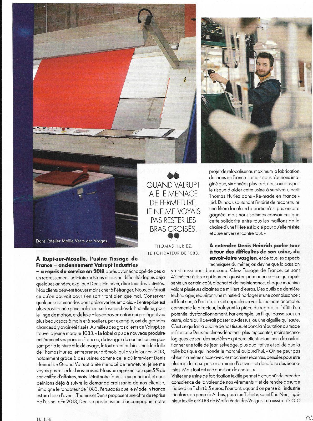 Vu et lu dans Elle du 09/04/21