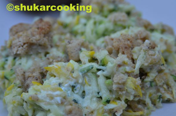 Crumble courgettes, fromage ail et fines herbes