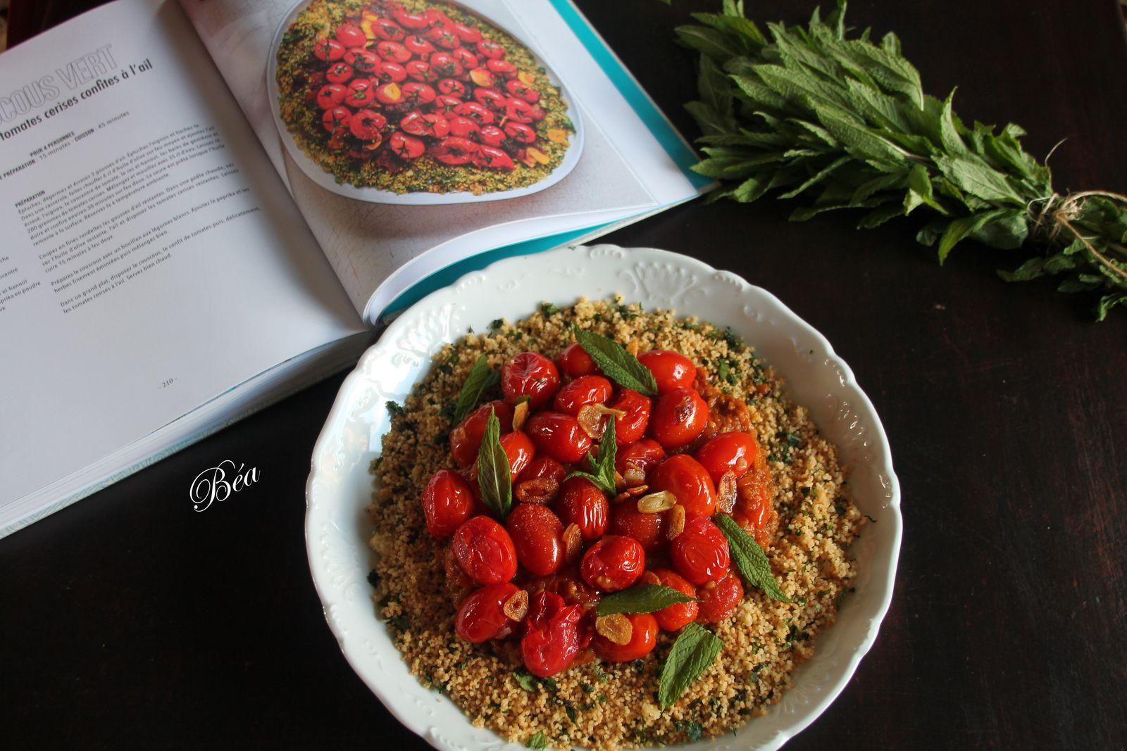 Couscous vert au paprika et aux tomates cerises confites à l'ail