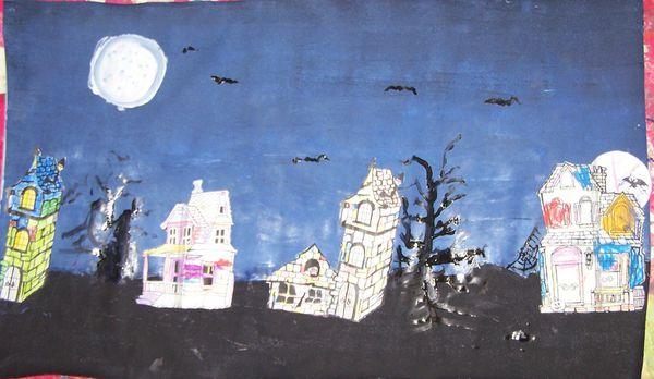 Fresque village hanté d'Halloween