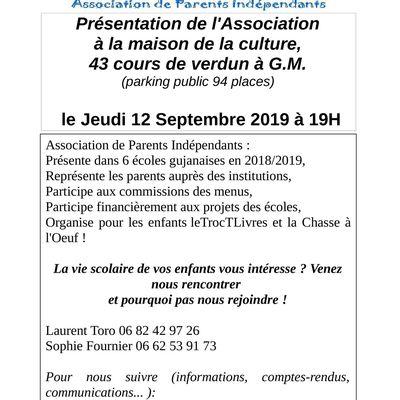 092019/ Réunion d'information sur le rôle du parent d'élève par notre association APICC