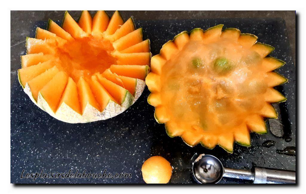 Melon au jambon cru et chorizo.