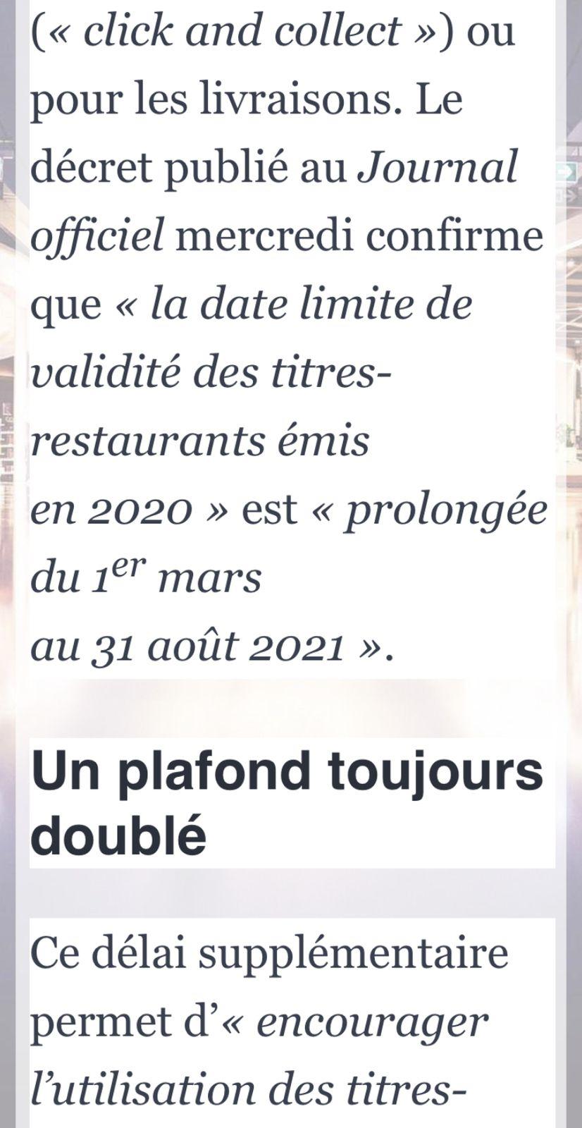 La validité des titres-Restaurants 2020 est prolongé jusqu'au 31 Août 2021