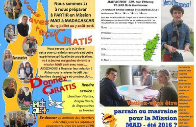 Aidez-nous à relever le défi des volontaires pour les missions MAD 2016 ?