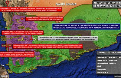 Situation militaire au Yemen au 28.02.21. L'Arabie Saoudite tue cinq civils, dont un enfant et une femme, lors d'un raid aérien sur le Yémen (Southfront)
