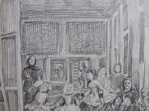 La sainte Famille, Rembrandt y représente son interieur. Lavis sur papier. 21x30 Bhavsar d'après Rembrandt. Les Ménines, Vélasquez s'y représente en train de peindre le roi et la reine. Crayon sur papier 22x34 Bhavsar d'après Vélasquez