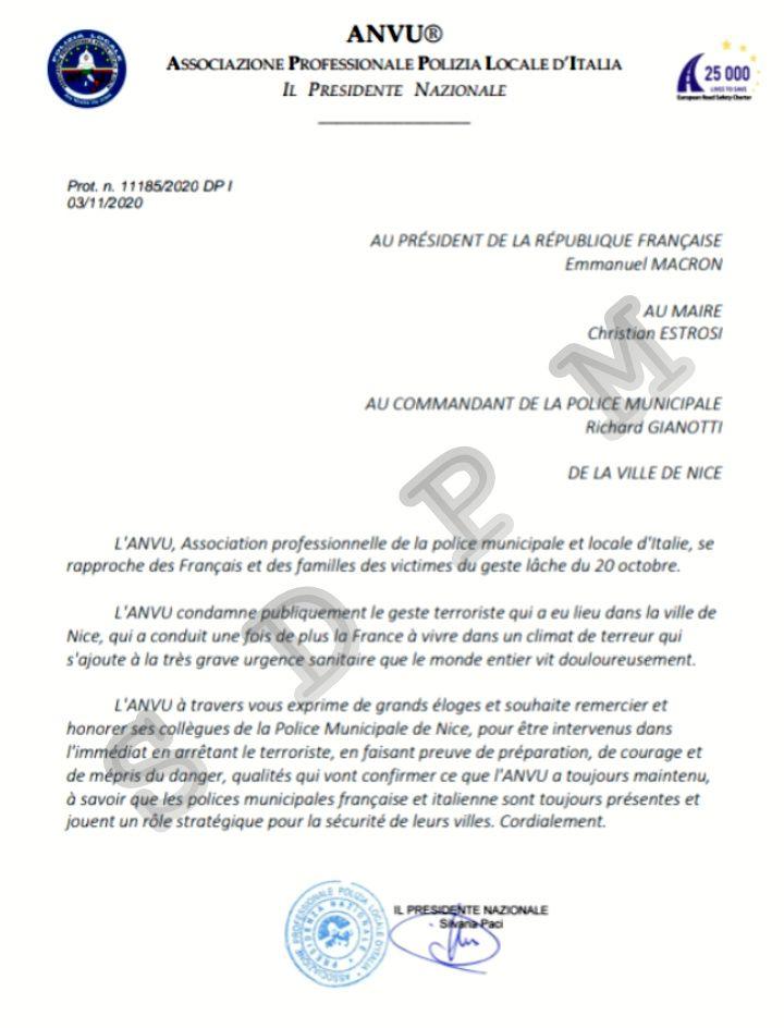 Le Syndicat professionnel de la police municipale italienne félicite les policiers municipaux de Nice (06)