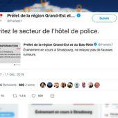 Non, la préfecture du Bas-Rhin n'a pas annoncé l'attentat à Strasbourg sur Twitter avant qu'il n'ait vraiment eu lieu