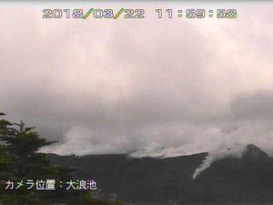 Shinmoedake - webcam JMA le 22.03.2018, respectivement à 11h59, 14h59 et 17h59 locale