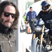Keanu Reeves looks edgy in a black biker jacket to test out motorbikes