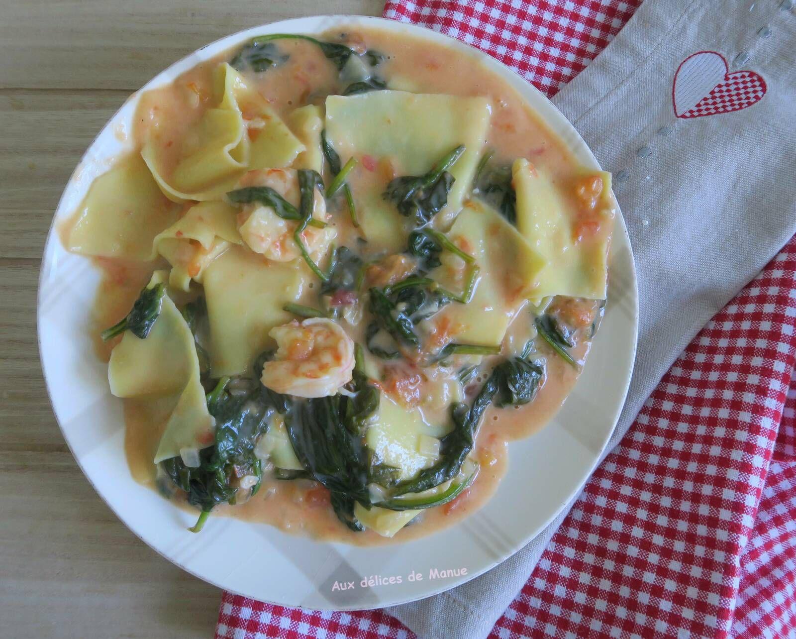 pâtes,lasagnes,crevettes,épinards,recette italienne