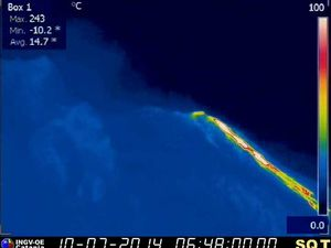 Stromboli - lava views thermal webcam 07 and 10/07/2014 - Images INGV Catania