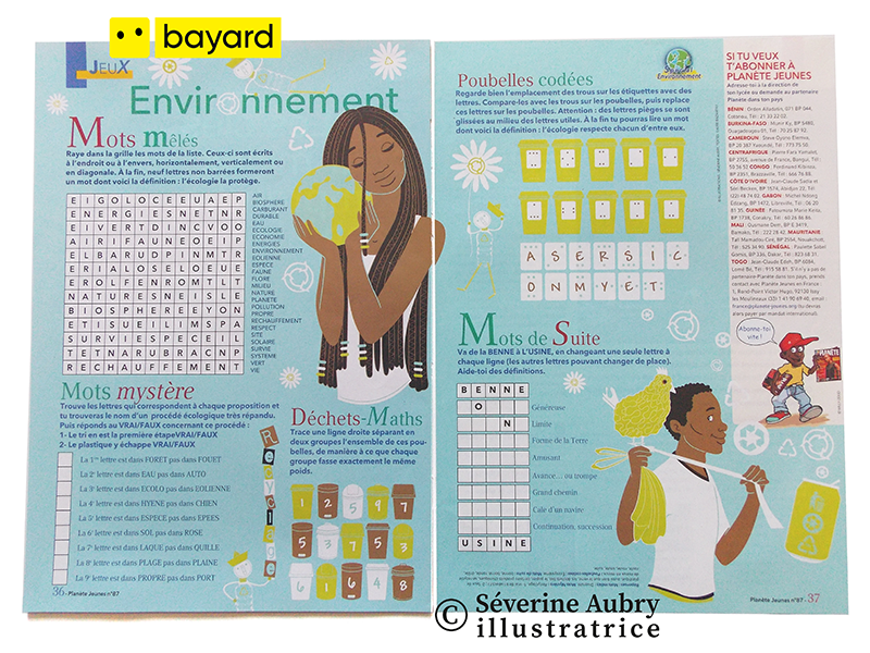 Illustrations pour double page de jeux presse - Planète jeunes (Bayard Afrique francophone) - 2007