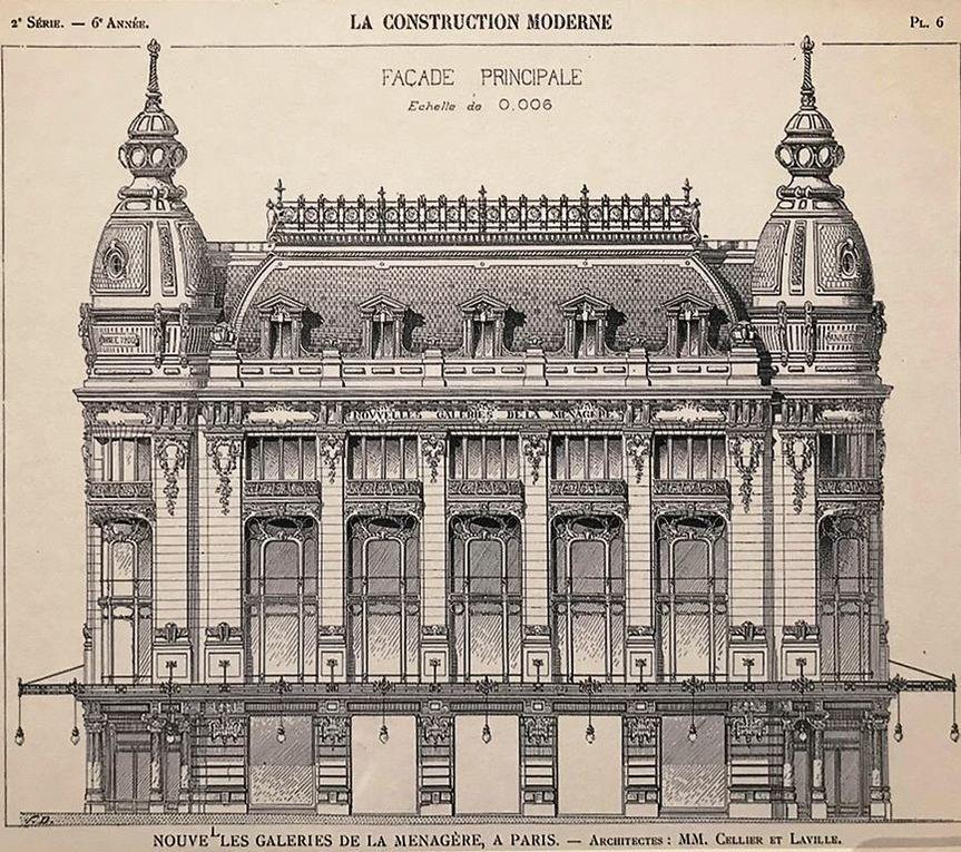 Les Nouvelles Galeries A la ménagère construites par Cellier et Laville en 1899 - 1900 (plan d'élévation paru dans la Construction moderne en 1900) - carte publicitaire, parue dans le Béton armé,1907