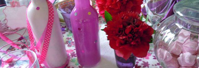 Pivoines du jardin et bouteilles recyclées !