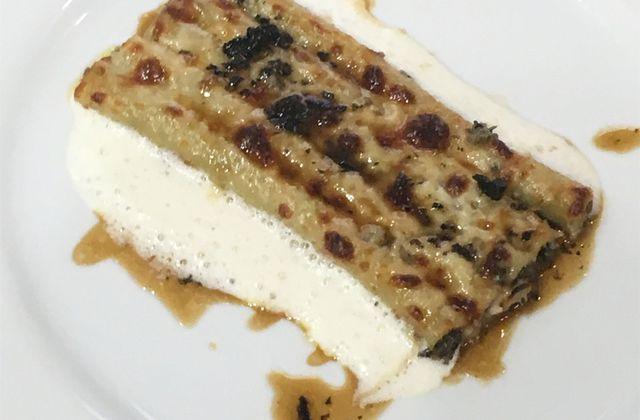 Macaronis farcis de truffe noire, artichaut et foie gras, gratinés au vieux parmesan d'E. Fréchon