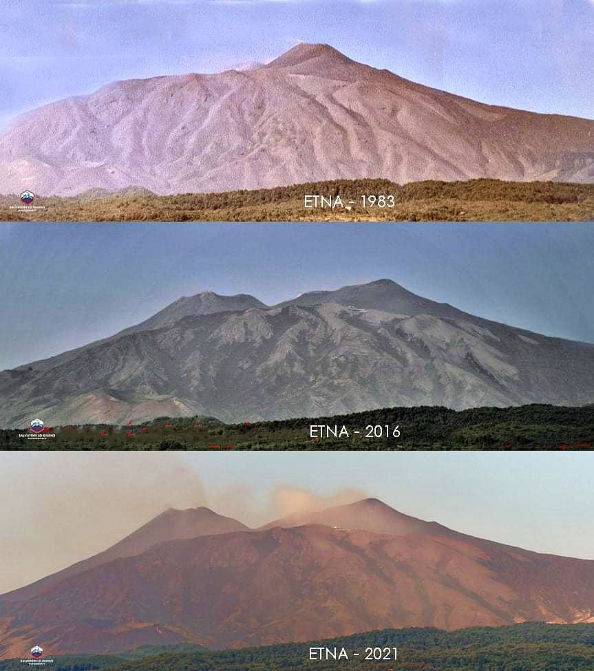 Etna SEC - the growth of the south-eastern crater, illustrated by photos by Salvatore Lo Giudice (in 1983, 2016 and 2021) - via Etna News