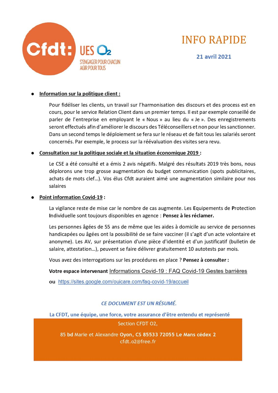Information CFDT Avril 2021
