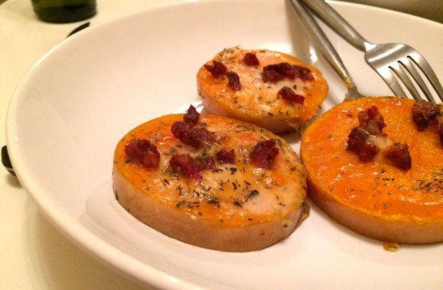 Courge butternut rôtie, chorizo et fromage de brebis
