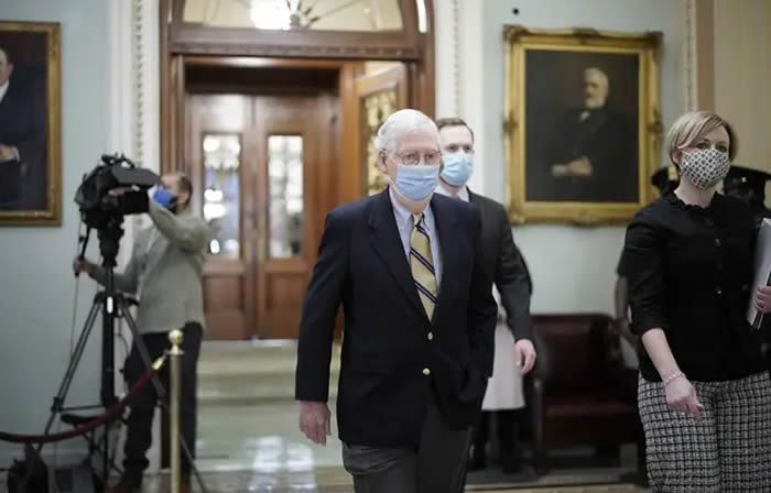 Le chef de la minorité républicaine au Sénat Mitch McConnell au procès de Donald Trump, le 13 février 2021. — J. Scott Applewhite/AP/SIPA