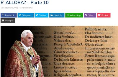 """PAPE ET ANTIPAPE: L'ENQUÊTE - BENOÎT XVI: """"JE POURRAIS ÊTRE LE DERNIER PAPE"""". ET FRANÇOIS QUI EST-IL ALORS? - 10ème partie"""