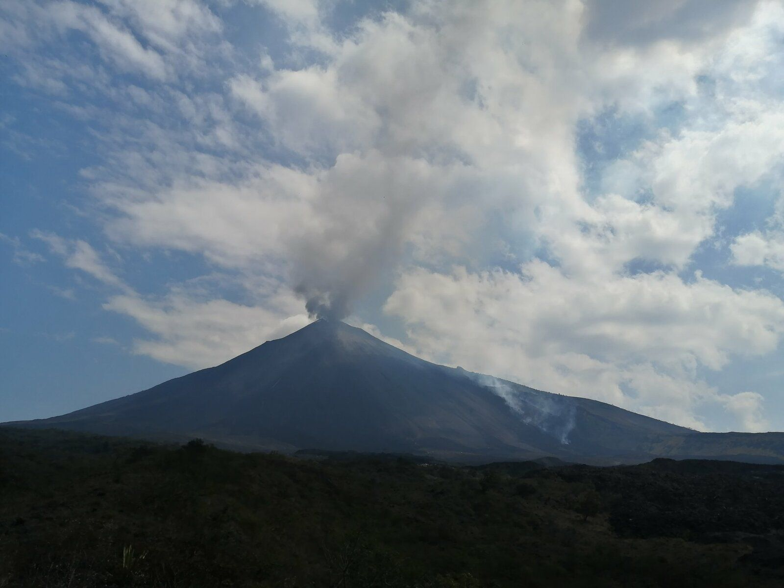 Pacaya - ash plume and fumaroles on the flows on 03.18.2021 - photo William Chigna