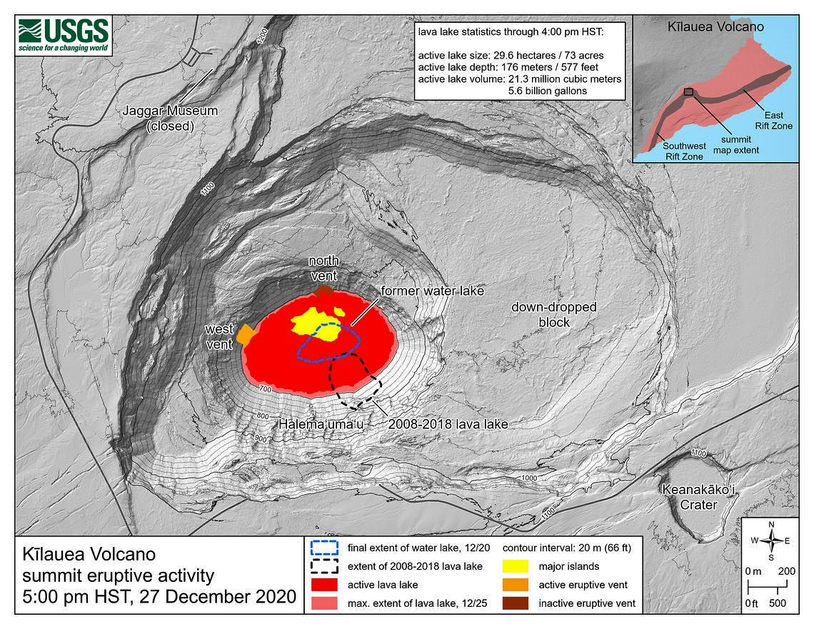 Kīlauea summit eruption reference map showing the location of current lake activity - HVO-USGS map 12/27/2020