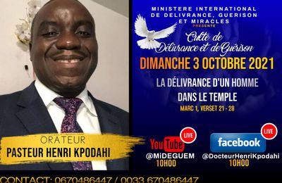 Invitation au culte en direct du MIDEGUEM le dimanche 3 octobre 2021 à partir de 10 h 00 sur Youtube et Facebook