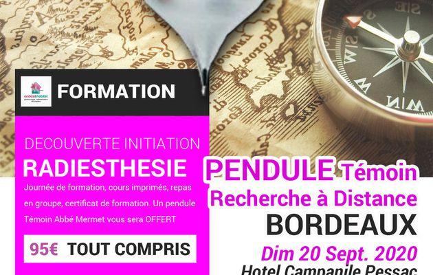 """BORDEAUX-Formation Radiesthésie : """"PENDULE Témoin, Mermet, recherche à distance » Découverte initiation 20 sept 2020"""
