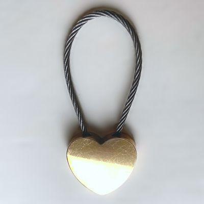 Porte clés cœur câblé inox doré argenté