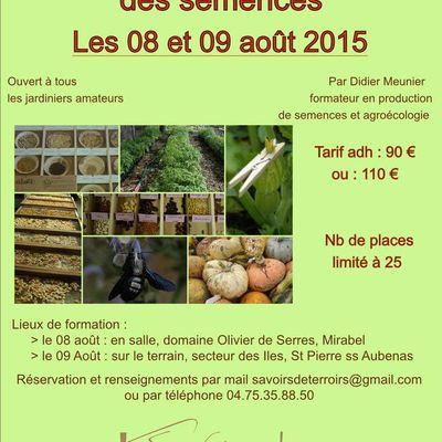Formation 2015 : production et conservation des semences
