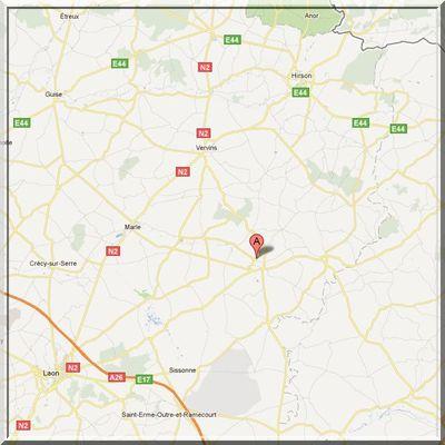 Aisne - Chaourse - Position église fortifiée sur carte