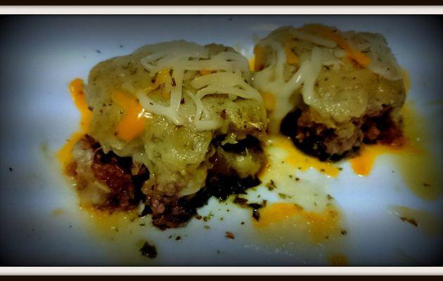 Espinacas con carne y besamel de cebolla