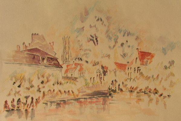Aquarelle. Bruges, son beffroi, ses canaux, sa végétation, et la Duvel!