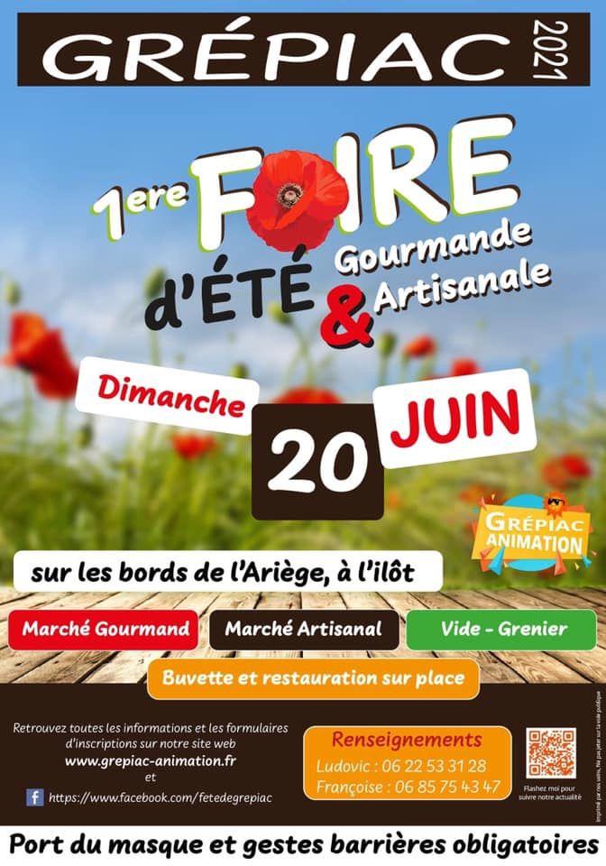 Grépiac  Dimanche 20 juin 2021  1ere Foire Gourmande & Artisanale