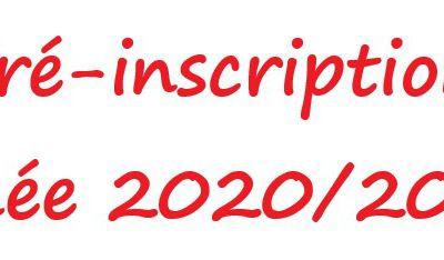 Pré-inscription année scolaire 2020/2021
