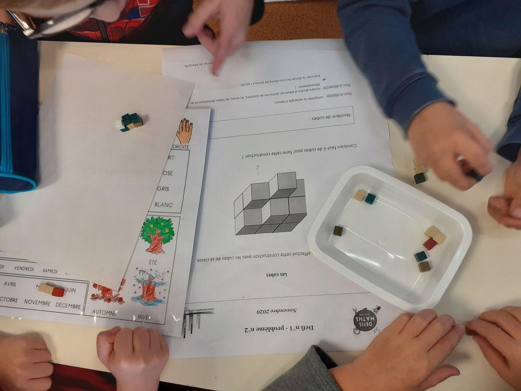 Nous avons participé au défi-maths proposé par la DDEC (Direction Diocésaine de l'Enseignement Catholique). Pour réussir à résoudre les 3 problèmes proposés, les élèves ont tâtonné, manipulé,....