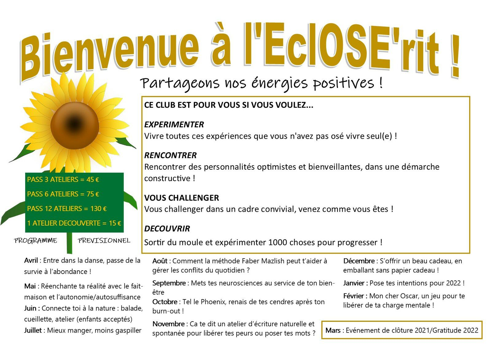 L'EclOSE'rit : Le Club inspirant et optimiste