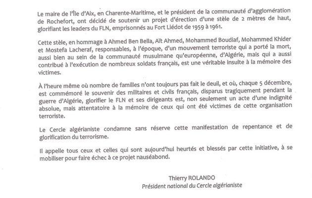 Un projet de stèle sur l'Île d'Aix, glorifiant la mémoire des responsables du FLN, qui résonne comme une véritable provocation